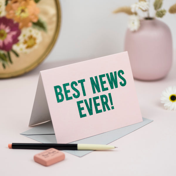 'Best News Ever' Greetings Card - Biodegradable Glitter
