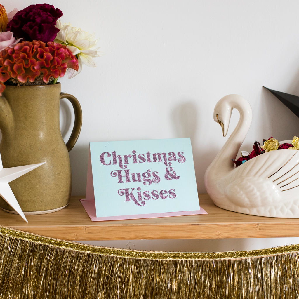 'Christmas Hugs & Kisses' Christmas Card - Biodegradable Glitter