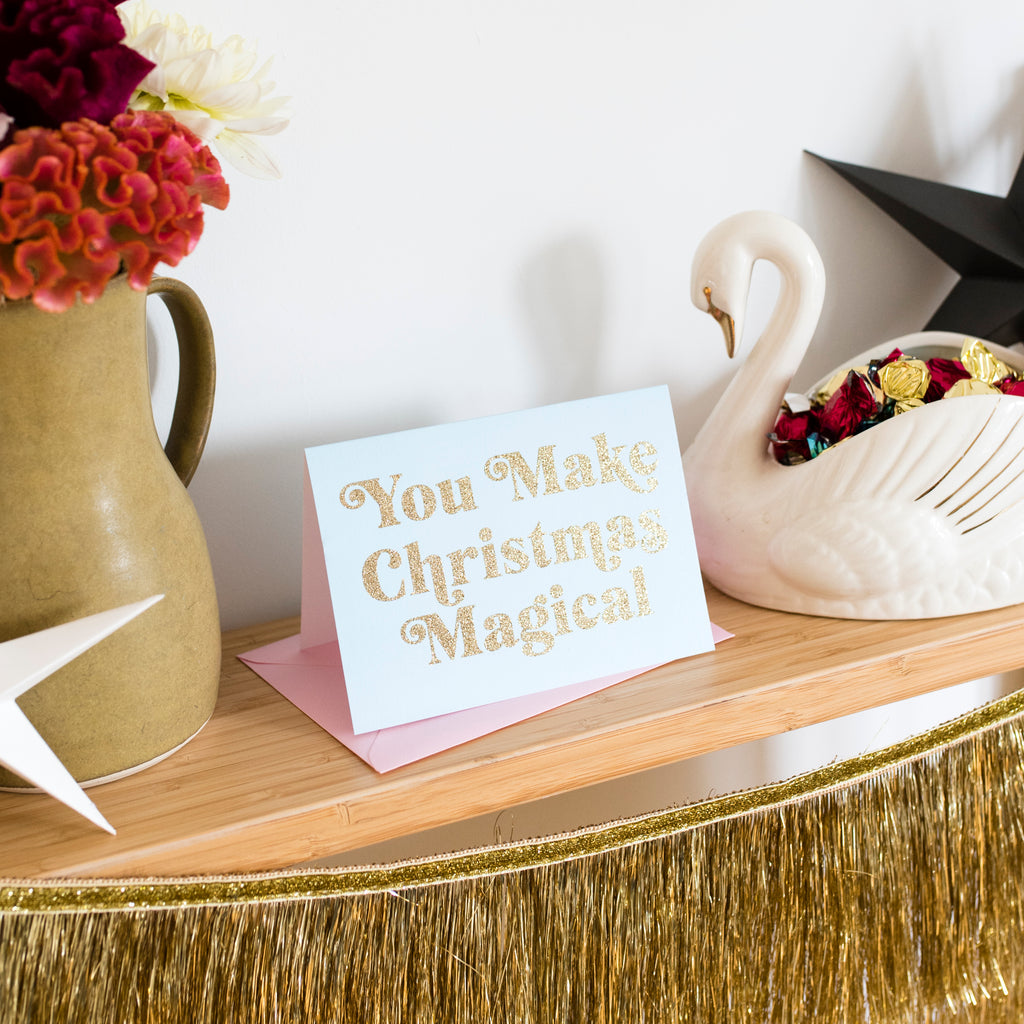 'You Make Christmas Magical' Christmas Card - Biodegradable Glitter