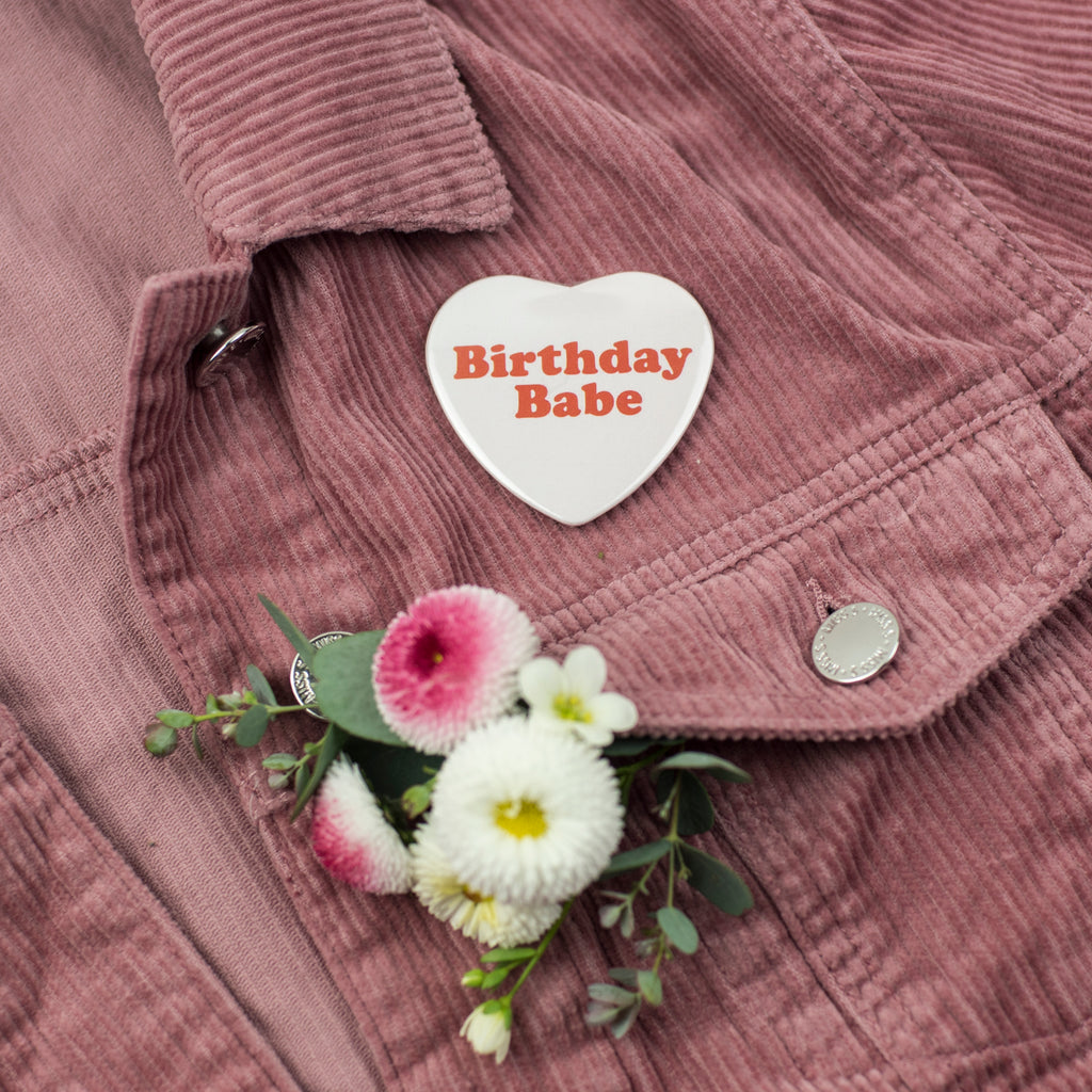 'Birthday Babe' Heart Shape Party Badge