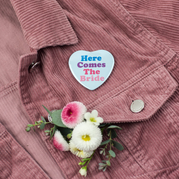 'Here Comes The Bride' Heart Shape Hen Party Badge