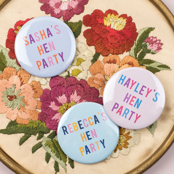 Semi-Personalised Bold + Bright Hen Party Badges