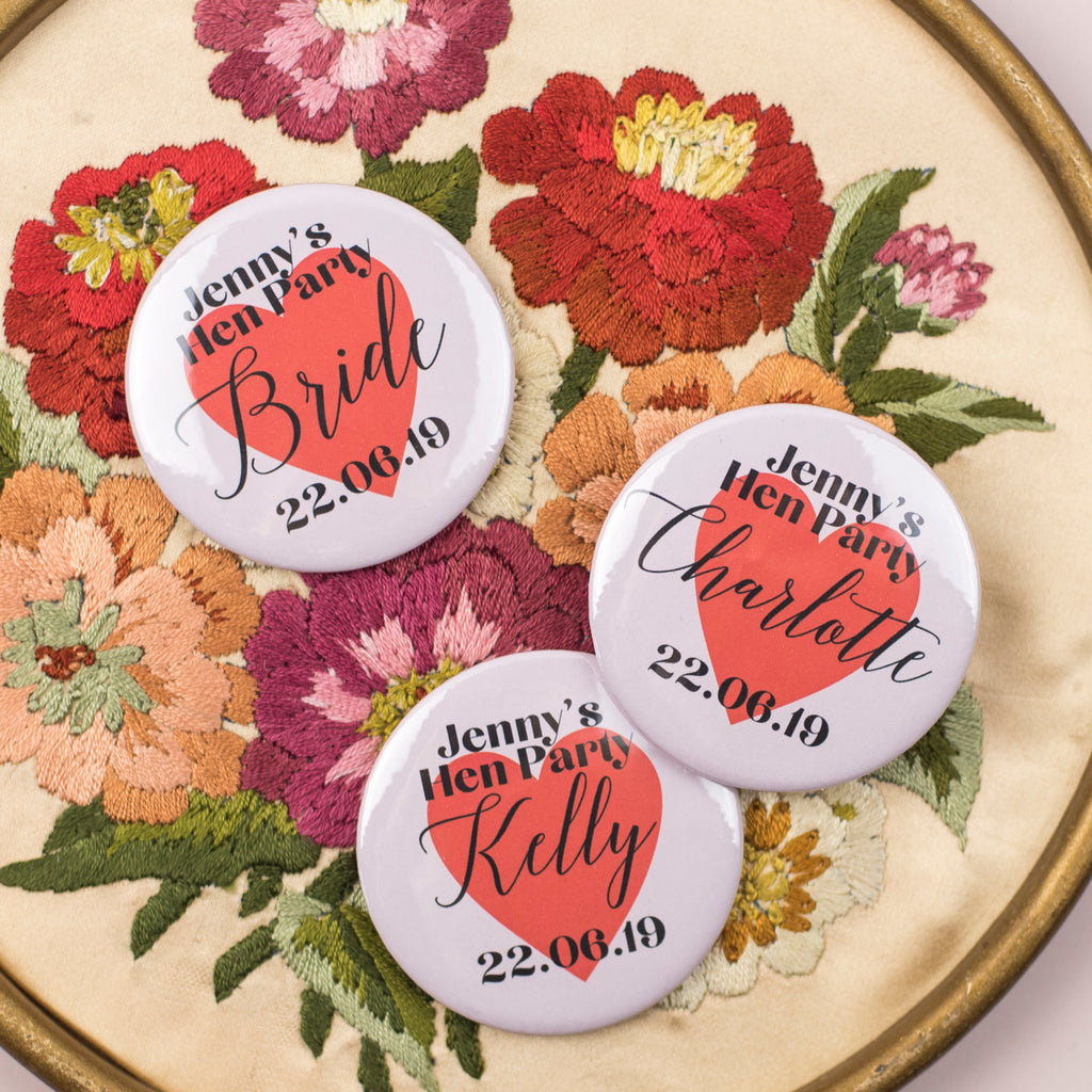 NEW Pink Hearts Personalised Hen Party Badges