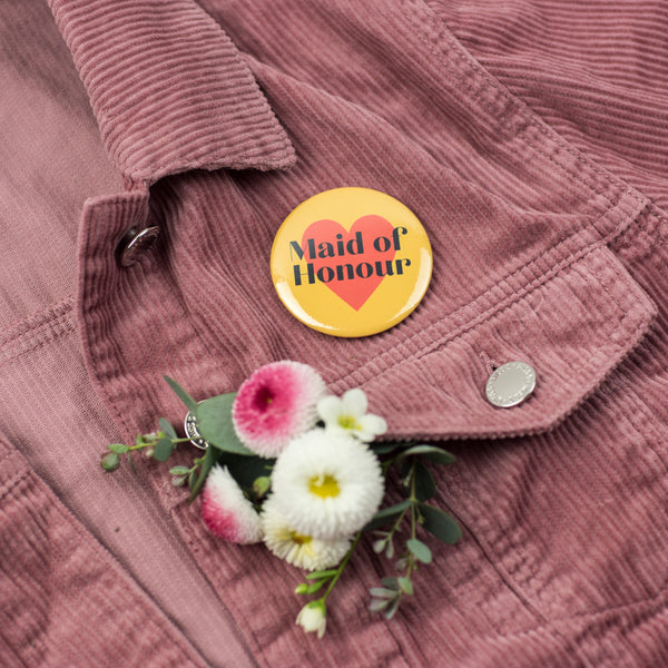 'Maid of Honour' Heart Hen Party Badge