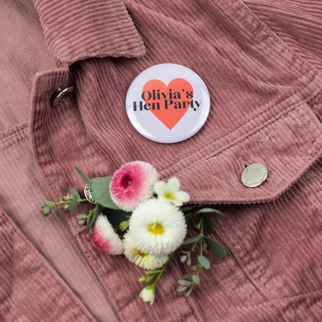 Personalised Hearts Hen Party Badges