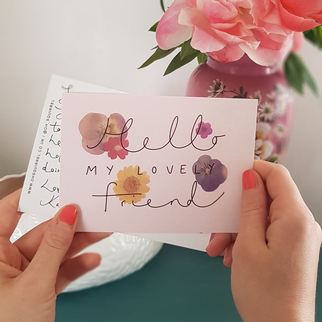'Hello My Lovely Friend' Hand Lettered Postcard