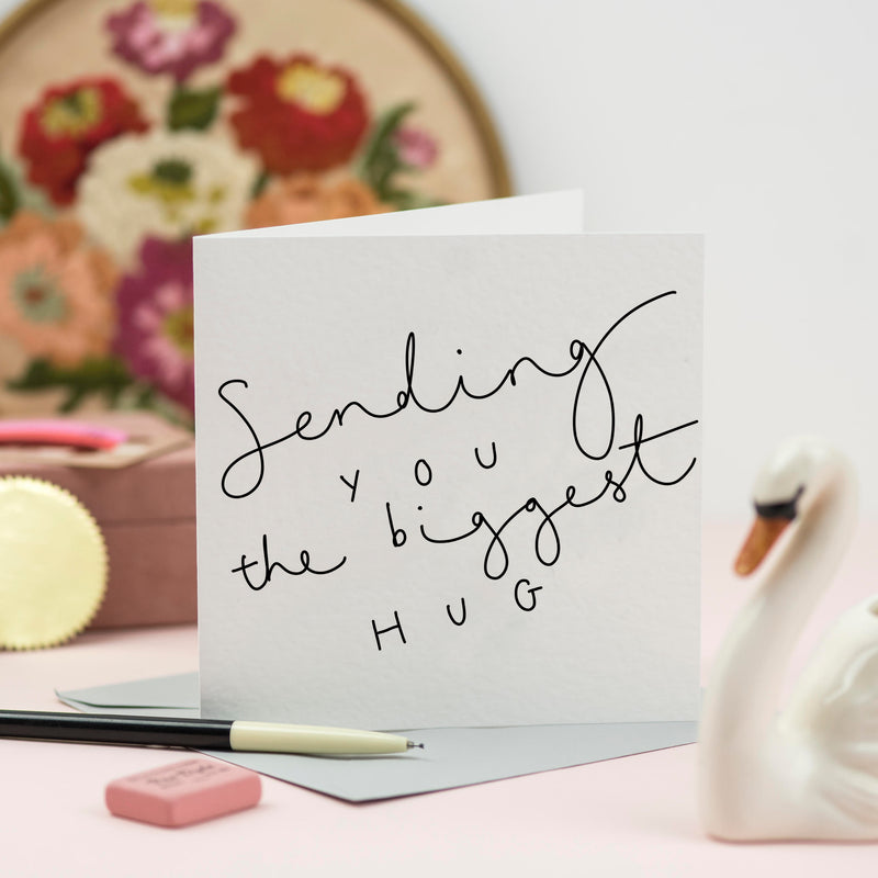 'Sending you the Biggest Hug' Hand Lettered Card