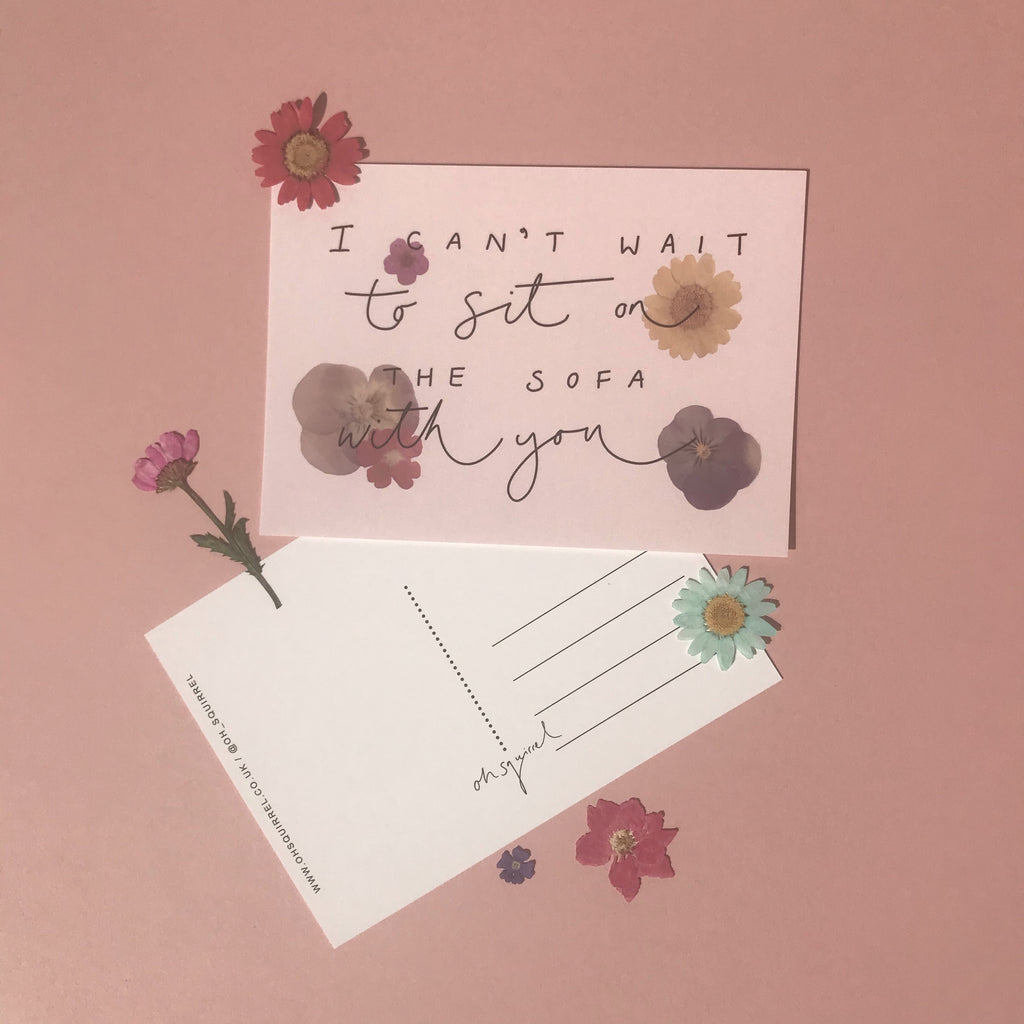 'I Can't Wait to Sit on the Sofa With You' Hand Lettered Postcard