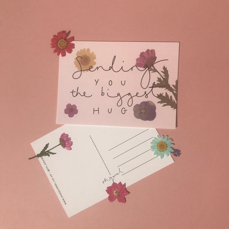 Set of 5 Floral Hand Lettered Postcards