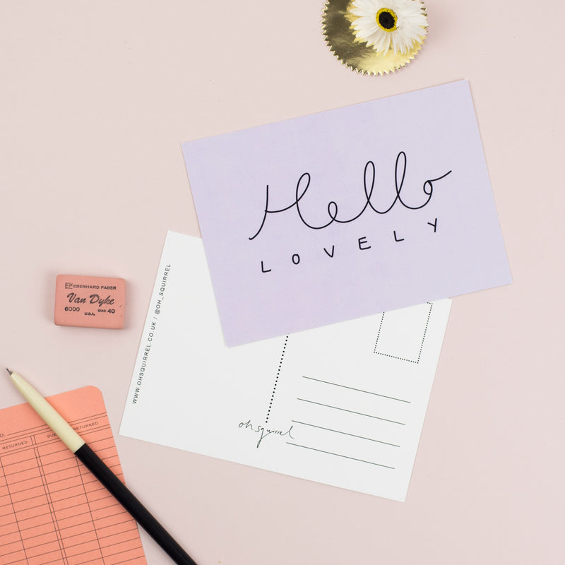 'Hello Lovely' Hand Lettered Postcard