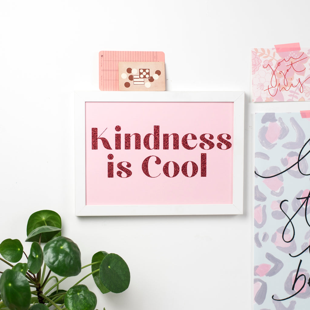 'Kindness Is Cool' - Glitter Print Wall Art