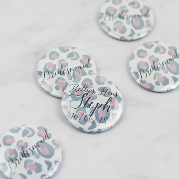 Leopard Print Personalised Hen Party Badges