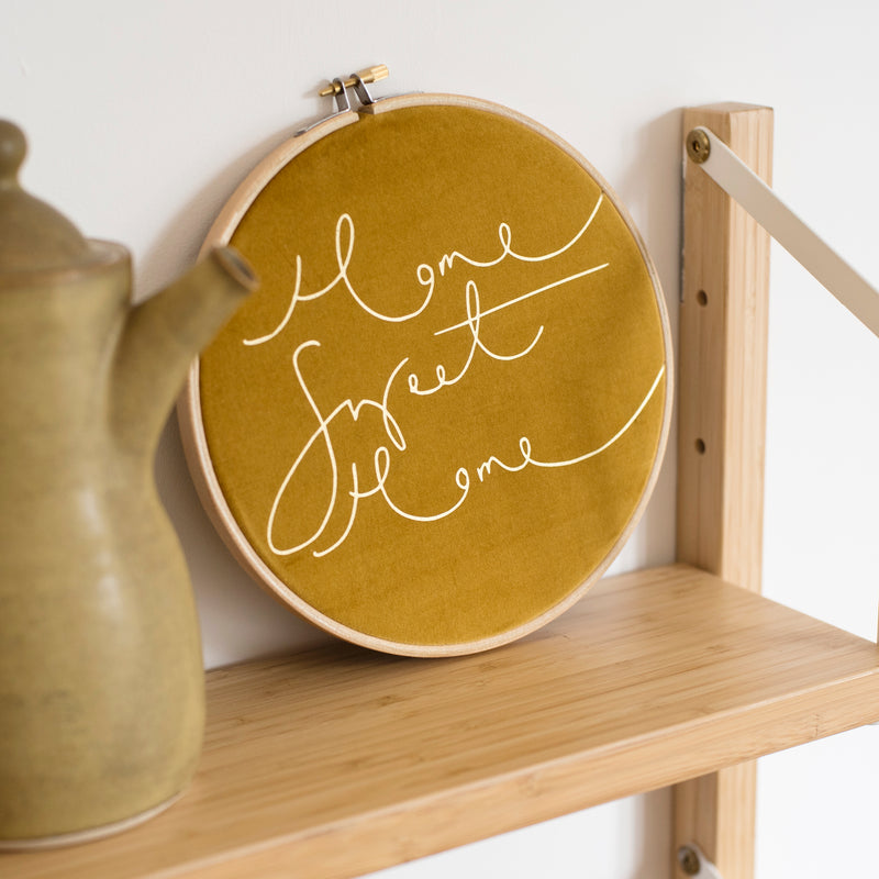 READY TO SHIP - Mustard 'Home Sweet Home' Velvet Hoop - LARGE