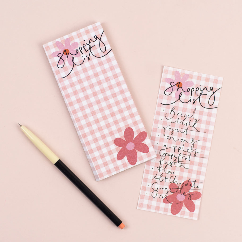 'Shopping' List Gingham + Flowers List Pad