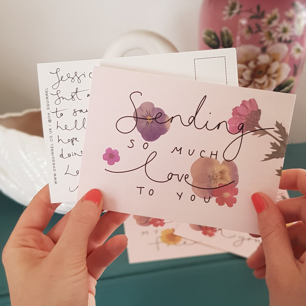 'Sending So Much Love to You' Hand Lettered Postcard