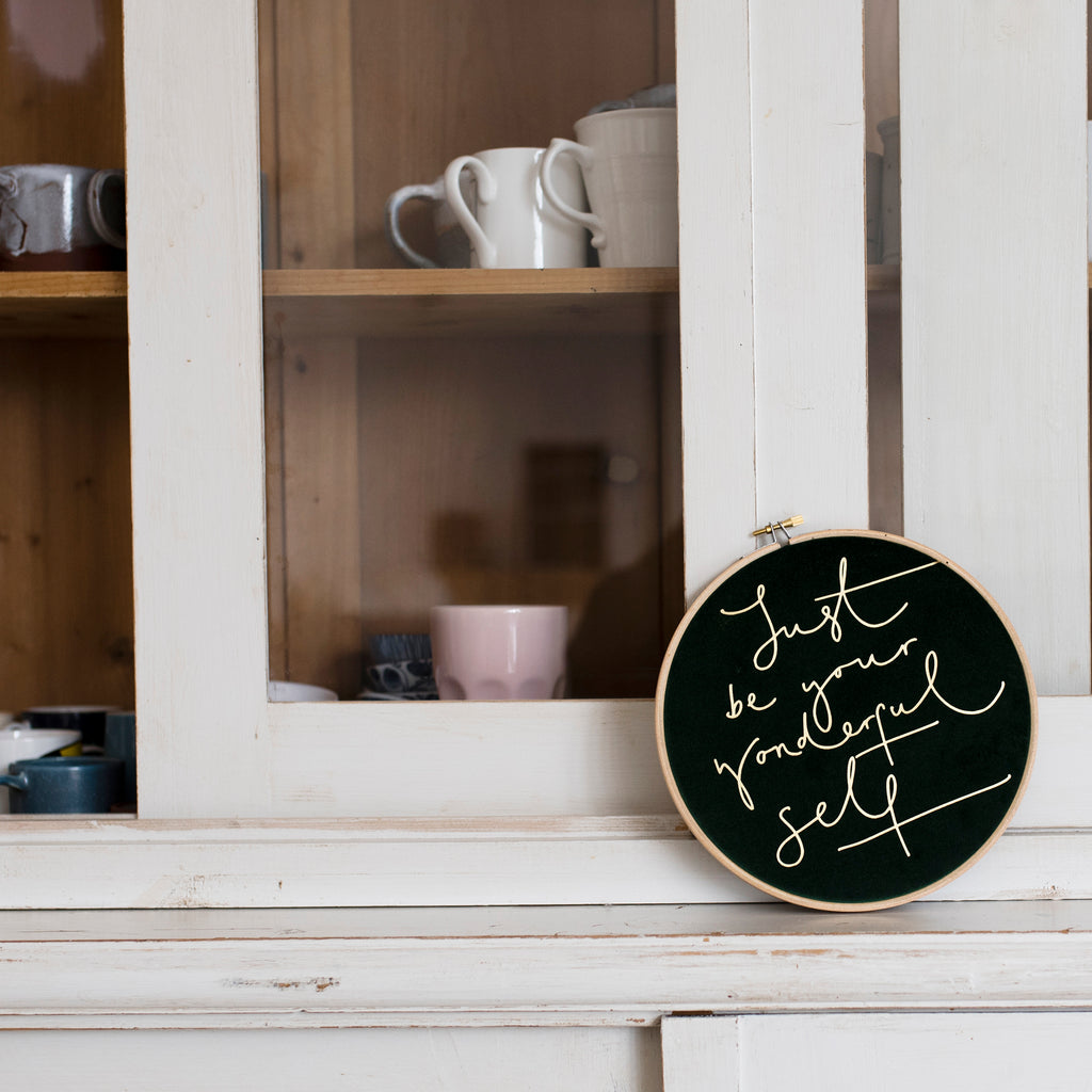 PREORDER - 'Just Be Your Wonderful Self' Velvet Hoop - Large Size