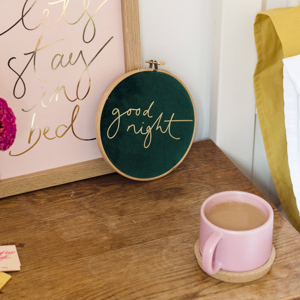 PRINT + HOOP SET - 'Let's Stay in Bed' A4 Print + 'Good Night' Medium Hoop