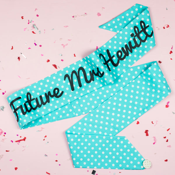 Mint Polka Dot Personalised Hen Party Sash