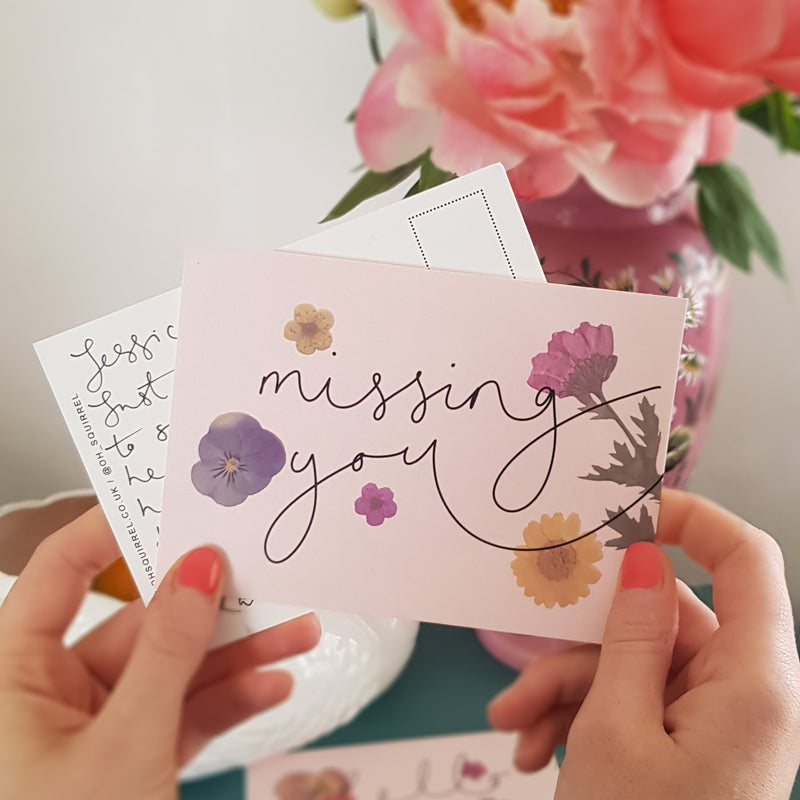 'Missing You' Hand Lettered Postcard
