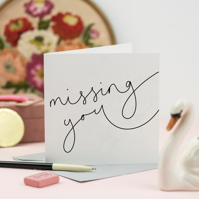 'Missing You' Hand Lettered Card