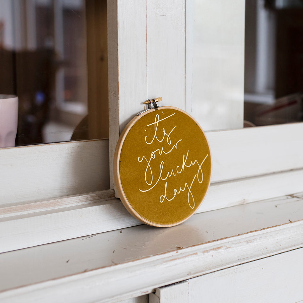 PREORDER - 'It's Your Lucky Day' Velvet Hoop - Medium Size