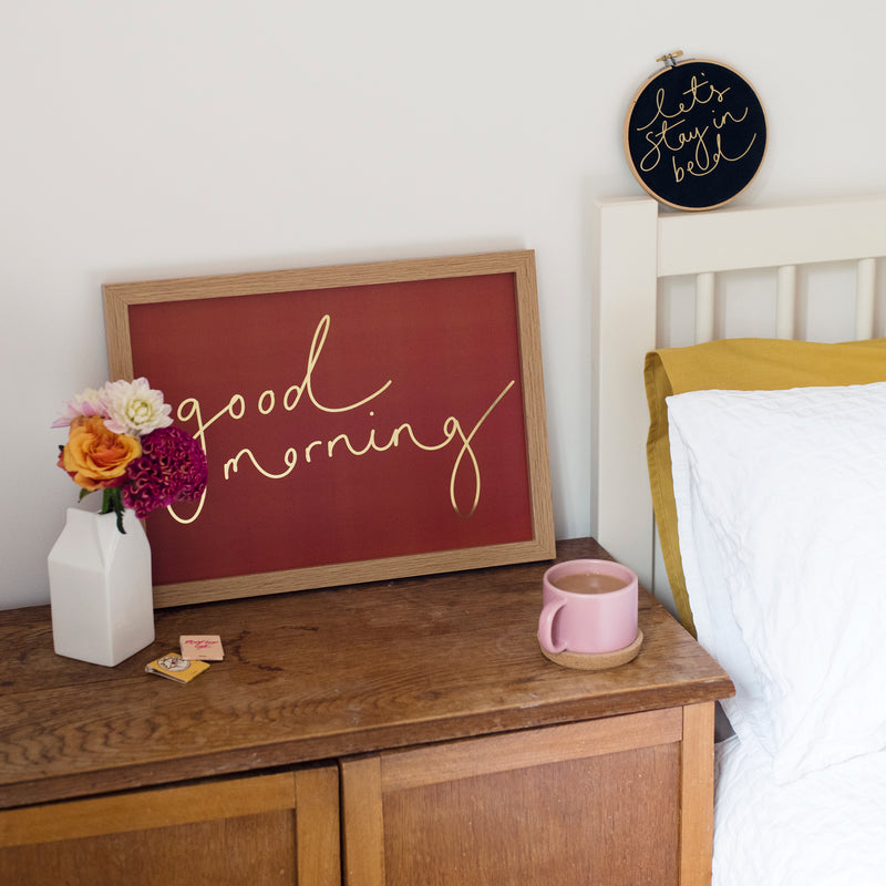 Rusty Orange + Gold Foil 'Good Morning' Handwritten Script Print