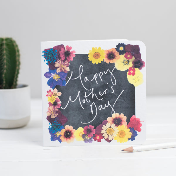 'Happy Mother's Day' Floral Chalkboard Hand Lettered Card