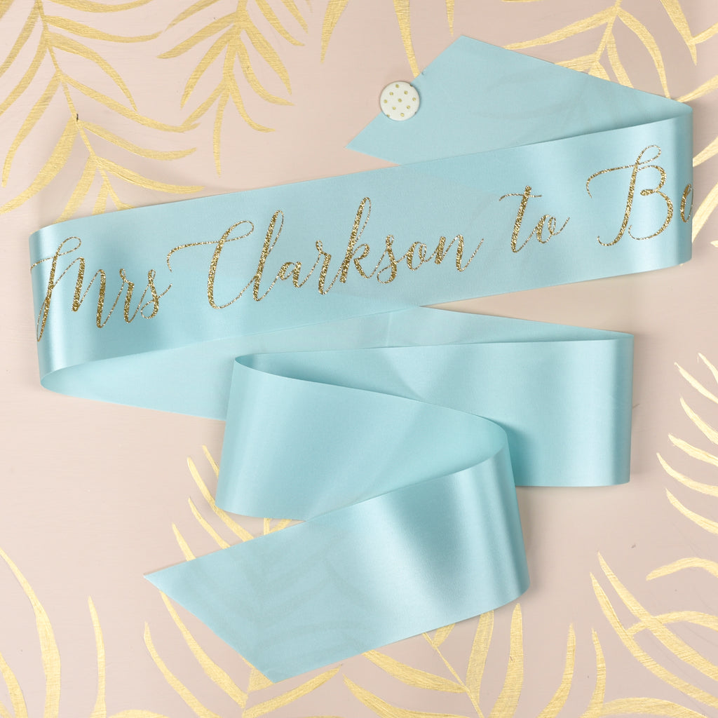 Script Personalised Surname Glitter Ribbon Hen Party Sash