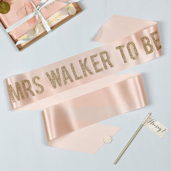 'Mrs To Be' Bold Personalised Gold Glitter Ribbon Hen Party Sash