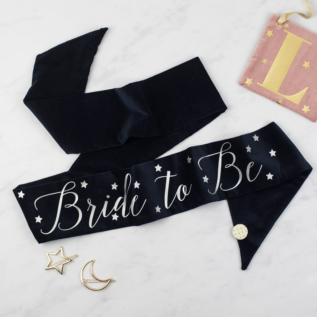 Navy + Silver Personalised Velvet Hen Party Sash