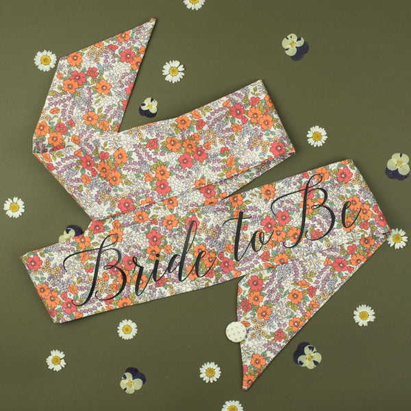 Orange Retro Floral Print Personalised Hen Party Sash