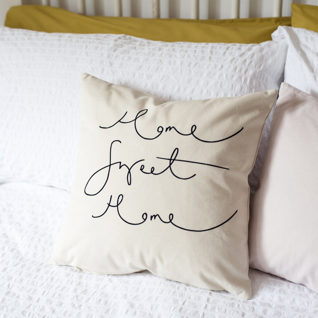 'Home Sweet Home' Hand Lettered Flock Print Cushion Cover