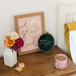 Soft Pink + Gold Foil 'Let's Stay In Bed' Handwritten Script Print