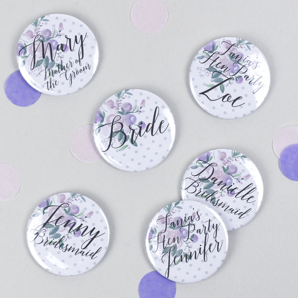 Polka Dot Floral Personalised Hen Party Badges