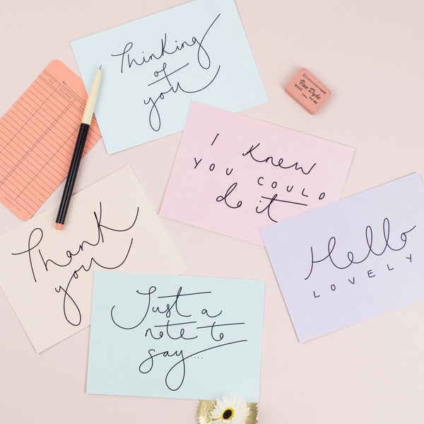 Set of 5 Pastel Hand Lettered Postcards