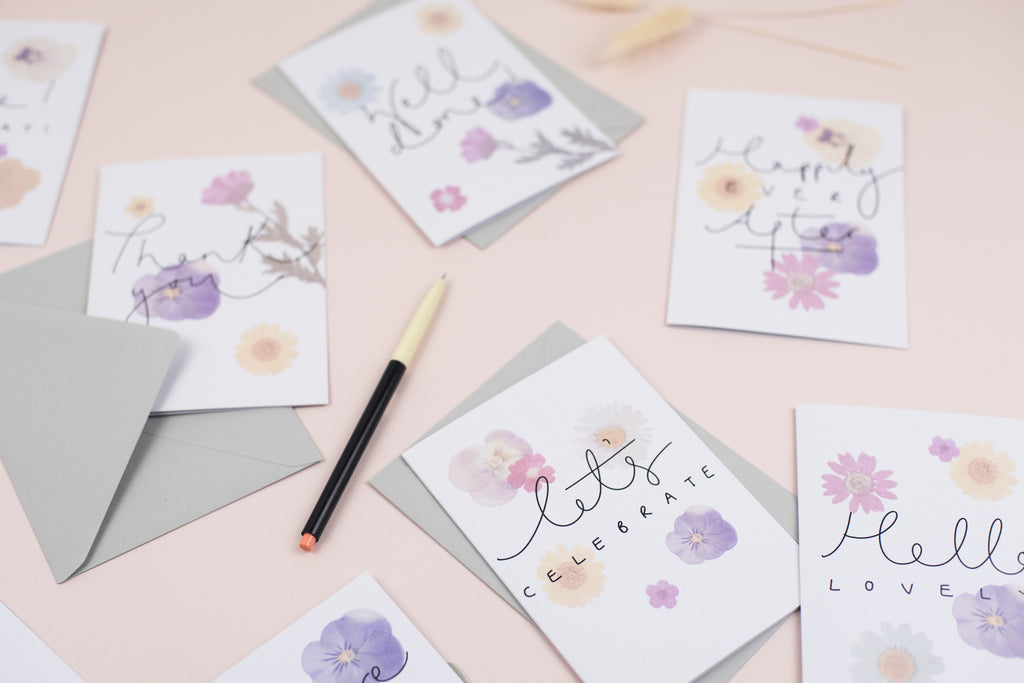 'Let's Celebrate' Pressed Flower Artwork Greetings Card