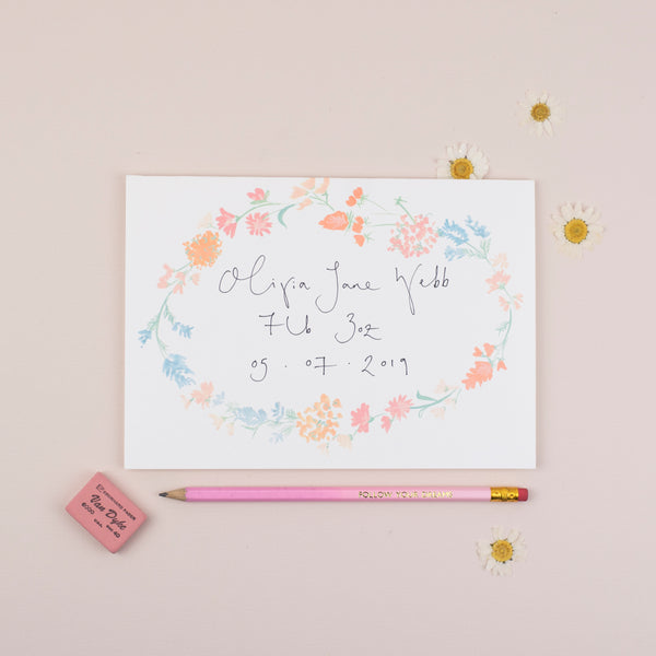 Personalised Floral Border A5 Greetings Card