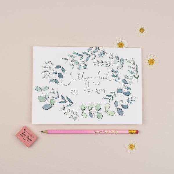 Personalised Eucalyptus Border A5 Greetings Card