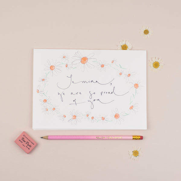 Personalised Daisy Chain A5 Greetings Card