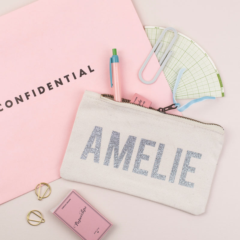Personalised Glitter Name Cream Pencil Case - Cream