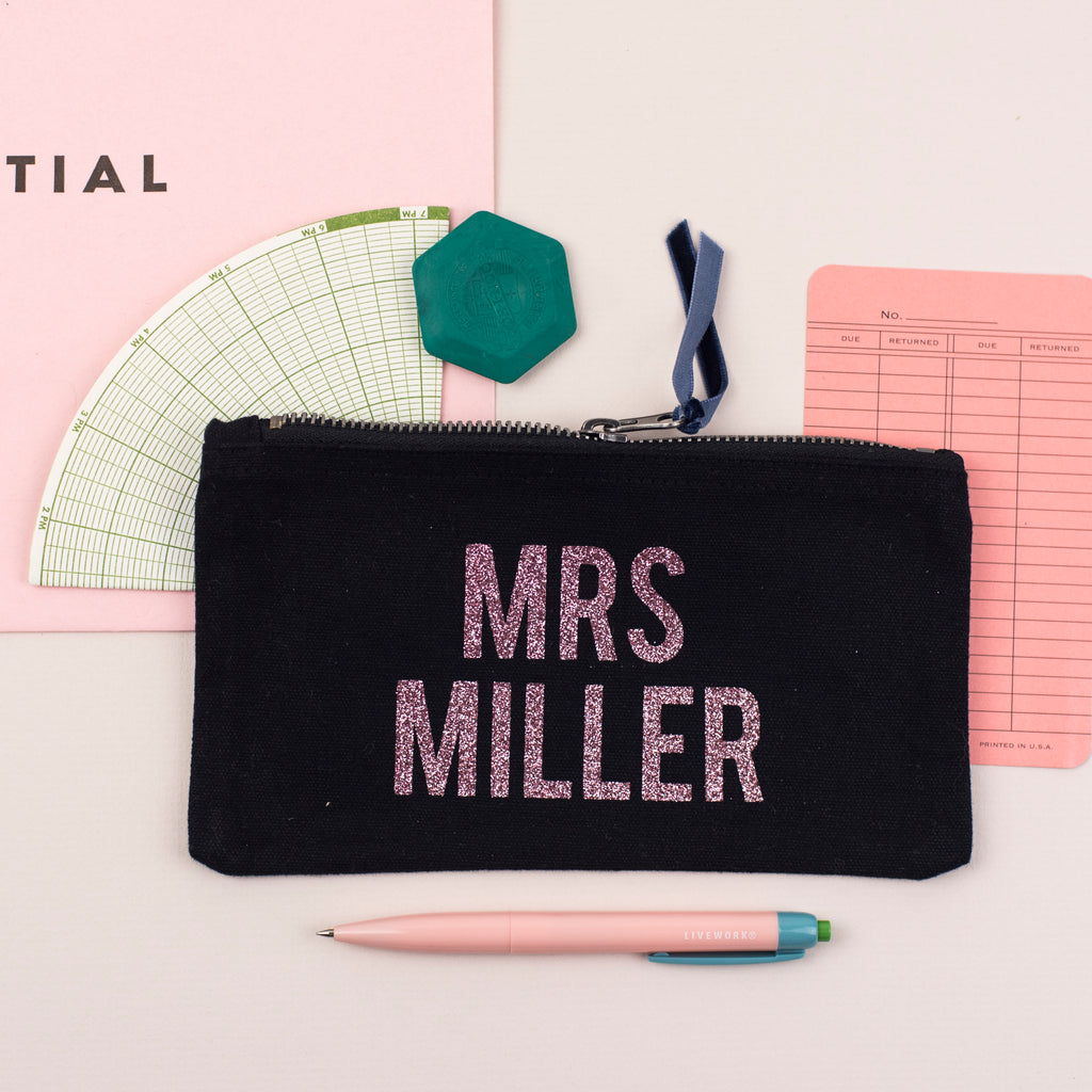 Personalised Glitter Name Black Pencil Case