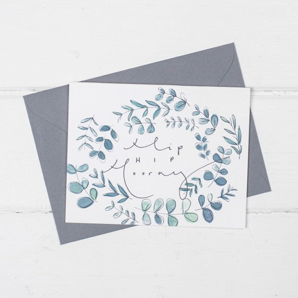 'Hip Hip Hooray' Botanical Watercolour Hand Lettering Card
