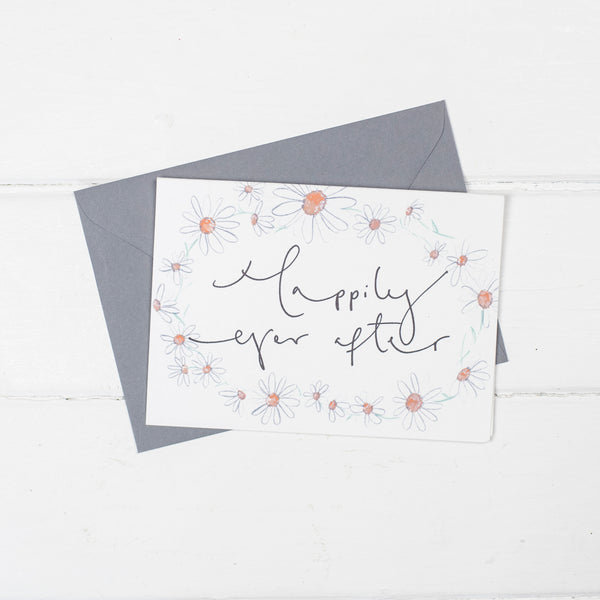 'Happily Ever After' Daisy Chain Calligraphy Card