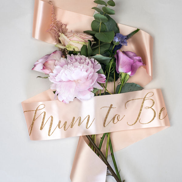 'Mum to Be' Baby Shower Glitter Print Ribbon Sash