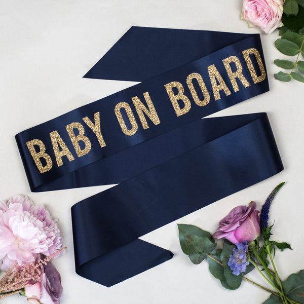 'Baby on Board' Baby Shower Bold Glitter Print Ribbon Sash