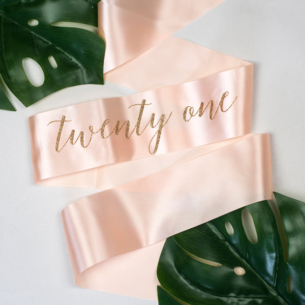 'Twenty One' Glitter Print Ribbon Birthday Sash