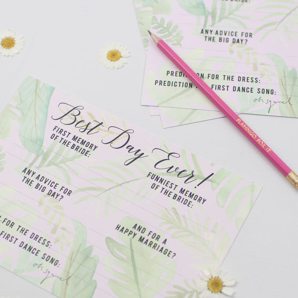 NEW 'Best Day Ever' Hen Party Memory + Advice Game - Tropical Design