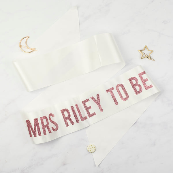 'Mrs To Be' Bold Personalised Rose Gold Glitter Ribbon Hen Party Sash