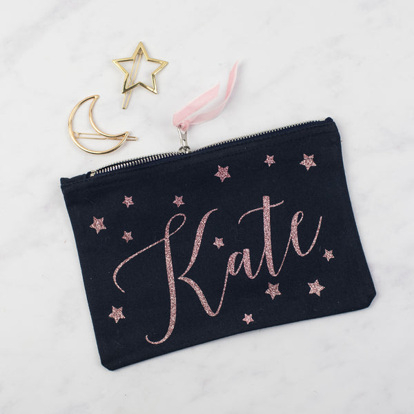 NEW Personalised Star Print Glitter Pouch
