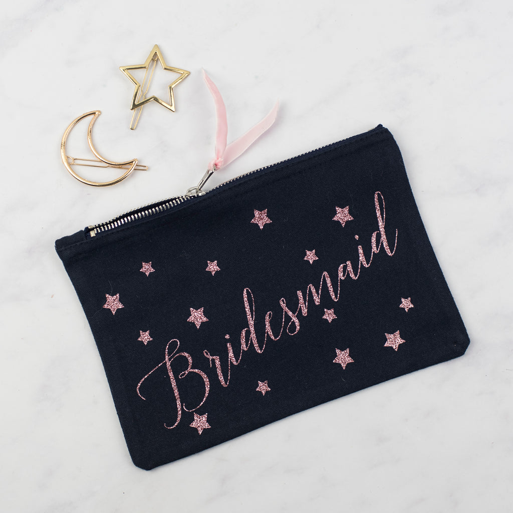 Personalised Bridal Party Star Print Glitter Pouch